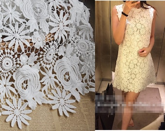 "1 yard Lace Fabric Ivory Big Rose Floral Embroidery Exquisite Bridal Wedding Headband 51.1"" width"