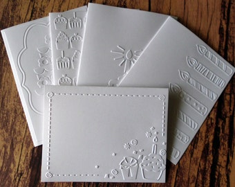 Assorted Birthday Cards, Set of 5, White Embossed Birthday Card Set, Embossed Cupcake Birthday Cards, Candle Birthday Cards, Birthday Cake