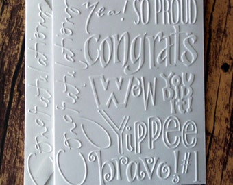 Congratulations Cards, Set of 5, Graduation Cards, Greeting Cards, So Proud, Bravo, You Did It, Promotion Cards, Word Collage Note Cards