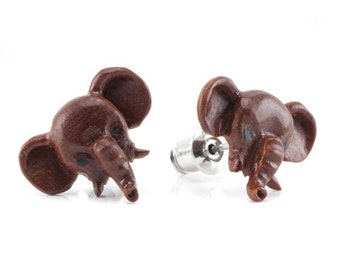 "Hand Carved - ""Pet Elephant"" - Sabo Wood with Ebony Wood Inlay Stud Earring - Urban Star Originals"
