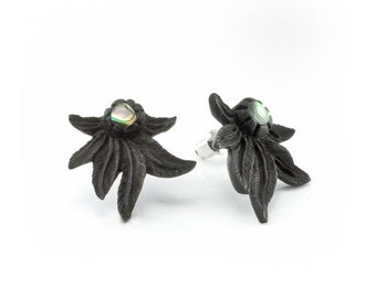 "Hand Carved - ""True Spirit"" - Ebony Wood with Abalone Inlay Stud Earring - American Frontier"