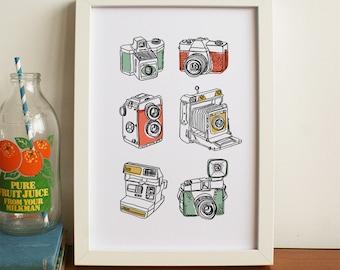 Vintage Cameras A4 Print