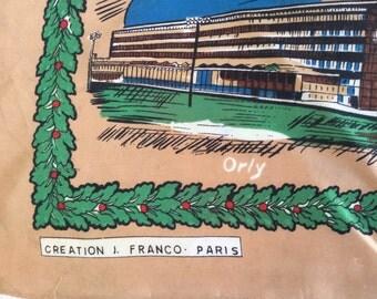 J Franco Rare Paris souvenir Scarf 1970's