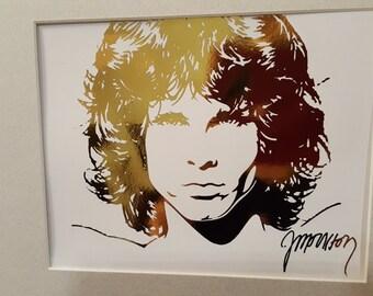Matted Gold Foil Jim Morrison Gold Foil Art Print