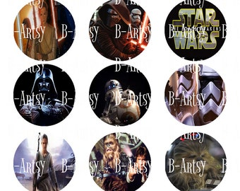 1 inch circles of Star Wars Bottle Cap images Digital File, Instant Download, Star Wars Movie