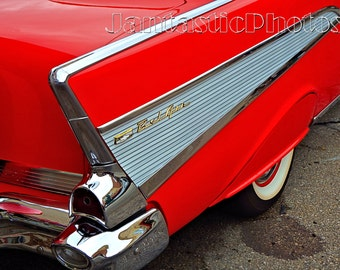 Chevrolet Bel Air photograph 1957 red Chevy tail fin Instant download photo classic car vintage '50s automobile photography automotive art