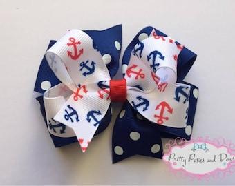 Anchor Hair Bow, Sailor Hair Bow, Cruise Hair Bow, Nautical Hair Bow, Summer Hair Bow, Anchor Bow, Sailor Bow, Cruise Bow, Nautical Bow