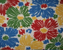 Crayon Flowers Red Yellow Blue Green on Cream Duck Cloth Canvas Fabric for Craft Projects Tote Bags Upholstery
