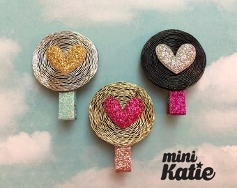 mini Katie mini Glitter Heart Hair Barrette, Hair Clip for baby girls