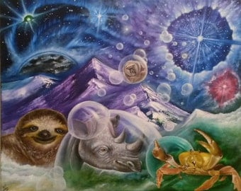 Family Portrait - 20x16 Oil on Canvas Original Painting,  Mystical Art, Cosmic Art, Religious Art, Meditation Art, Stars, Spirit Animals