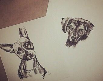 2 Original Drawings (1 - 2 Dogs)