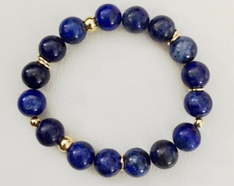 Blue and gold bracelet, lapis lazuli and gold bracelet, beaded lapis lazuli bracelet