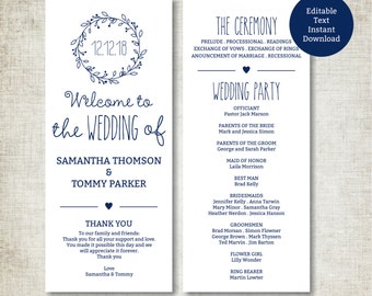 Classic Wreath Navy Wedding Program Template Download, Editable Text, Kraft Wedding Program, Instant Download PDF template, Tealength
