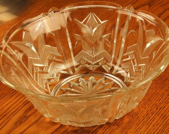Art Deco Flower Shape Pressed Glass Serving Bowl