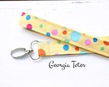 Yellow Polka Dot Fabric Lanyard, Badge Holder, Fashion Lanyard, Cute Lanyard, Women's Lanyard, Teacher Lanyard, Teacher Appreciation