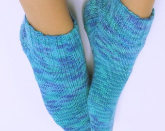 Hand Knitted Socks for Women. Low Cut, Size 8-9. Acrylic and Nylon. Super Soft.