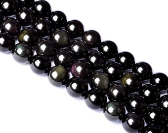 DIY Special Obsidian Crystal Beads with String 39cm(4-16mm)-WEN24712132023-MAY