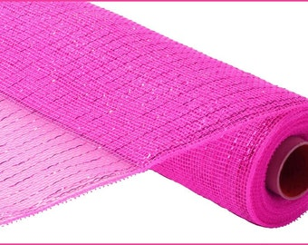 "21"" Hot Pink Deco Mesh, Fuchsia Metallic Deco Mesh, Fuchsia Foil Deco Poly Mesh, Hot Pink Deco Poly Mesh - (10 Yards) - RE1001H4"