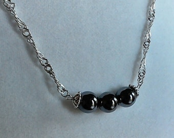 Hematite 3 Bead Necklace