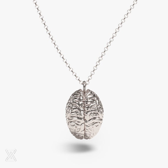 Science Jewelry: Silver Brain Necklace 3D Printed Brain