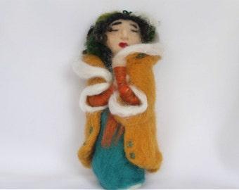 Soft Sculpture Art Doll OOAK 'Felt Lady in Winter'