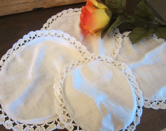 Vintage Set of Four Off White Round Doilies
