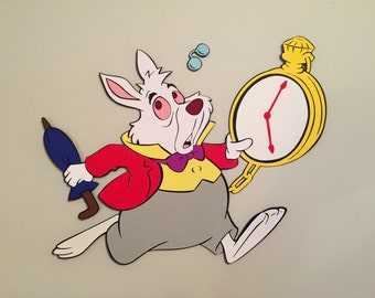 15 in. White Rabbit with Pocket Watch Alice in Wonderland Party Prop, Disney Party