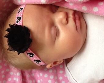 Minnie Mouse shabby chic headband, newborn headband, shabby chic headband