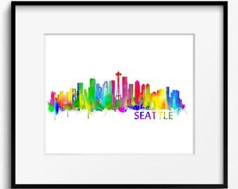 Seattle Skyline Watercolor Art Print (054) Cityscape