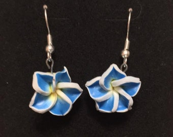 Blue Flower Dangle Earrings with Free Shipping