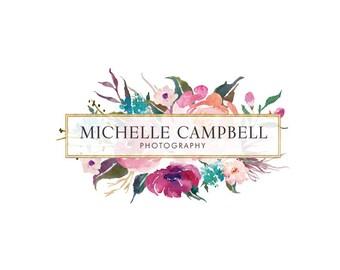 Photography logo premade logo design floral frame logo gold logo
