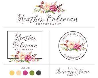Floral logo branding package watercolor logo photography logo premade logo package flower logo photographer logo