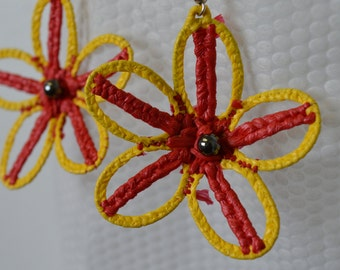 Red and Yellow Flower Earring //  Gift for Her