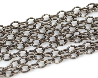 4.2*5.6mm Sterling Silver Screw Oval Texturized Chain- Heavy Links- Silver and Oxidized
