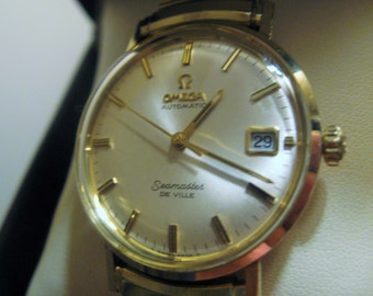 Magnificent 1960's Omega Seamaster Deville--14 Kt. Gold Filled -- Automatic --- High Grade  563 Movement -- 17 Jewels ---Seamaster Logo
