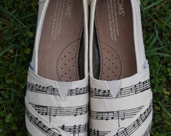 Customs Song; Music Notes; Hand-painted classic TOMS shoes