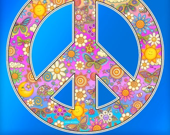 Flower Peace Sign Decal by Dan Morris, perfect for any indoor outdoor use,sticker RV, Car,Cooler, ©Dan Morris