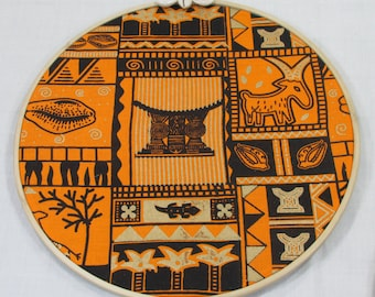 African Orange And Black Print 10 Round Wall Hanging Afrocentric Home Decor