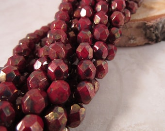 BRICK SUNSET 6mm Opaque Red Bronze Picasso Firepolish Czech Glass Faceted Round Beads - Dark Brick Red Earthy Rust Oxblood - Qty 25 (6-100)