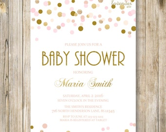 PINK GOLD BABY Shower Invitation, Pink Gold Polka Dots, Baby Girl Shower Invite, Baby Sprinkle, Couples Shower, Baby Shower Printables, LA14