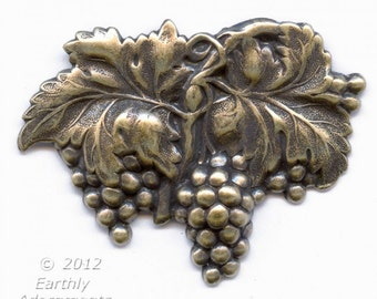 Vintage oxidized solid brass grape cluster stamping. Pkg. of 1. b9-0766(e)