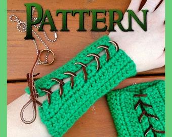 Easy Crochet Pattern   Archery Bracer   Arm Guard   Woodland Elf   Forest Elf   LARP Costume   Cosplay Gloves   Wrist Guard   Wood Elf