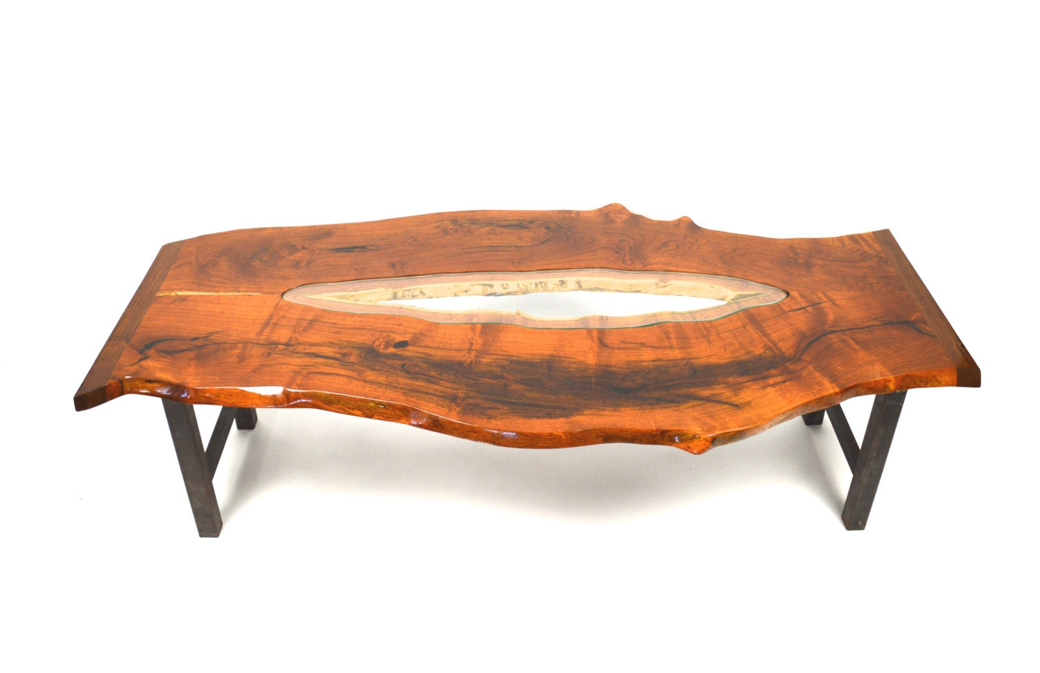 Live Edge Mesquite Glass Coffee Table