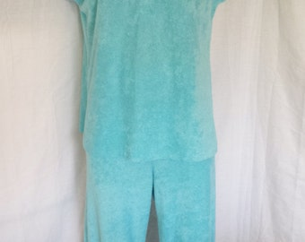 Vintage 1960's Terry Cloth outfit matching shirt and pants   misses  S - M