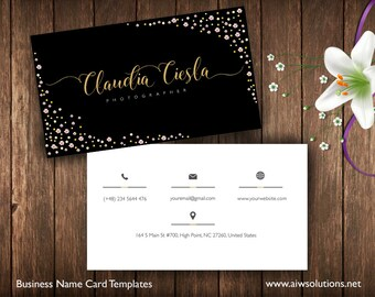 Business Cards Printable, Name Card Template, Photography name card, calling cards, DIY business cards, EASY to Edit and Print at Home-id17