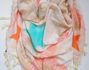 Star scarf beige