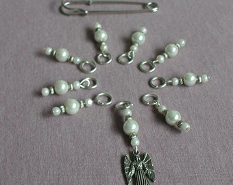 Knitting Stitch Markers Set of Nine White Glass Pearls Angel Handmade Gift