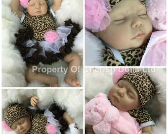 """Reduced For A Limited Time - reborn doll girl 22"""" Lola newborn size rooted eyelashes 3/4 limbs heat paints real realistic  my fake baby"""