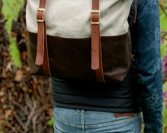 Backpack in canvas and natural cowhide made in Italy
