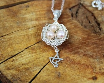 "Sterling Silver Hand Wrapped Bird's Nest with Pink Fresh Water Pearl "" Eggs "" and Bird Charm Pendant Necklace - Elegant - Cute - Easter Gift"